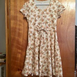 Kling Skater Mini Dress Floral Cream Size Medium